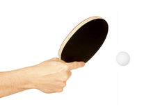 Table tennis racket in hand Royalty Free Stock Photos