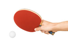 Table tennis racket. In hand on white Stock Images