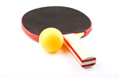 Table tennis racket on white. Ping pong objects on white, racket and ball Royalty Free Stock Image
