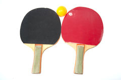 Table tennis racket. Table tennis and yellow ball for training Stock Photo