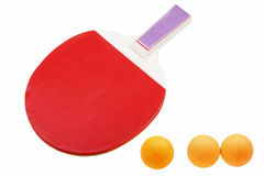 Table tennis rackets. Red rackets and three balls for table tennis on a white background Stock Image