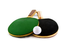 Table tennis rackets and ball. Isolated on white background Stock Image