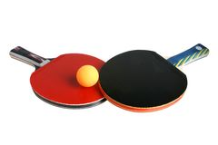 Table tennis rackets and ball. Isolated on the white background Royalty Free Stock Photography