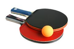 Table tennis rackets and ball. Isolated on the white background Stock Photo