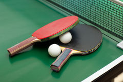 Table tennis rackets and ball Stock Image