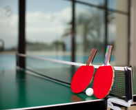 Table tennis rackets and ball Royalty Free Stock Photography