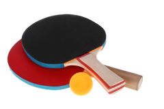 Table tennis rackets and ball Royalty Free Stock Images