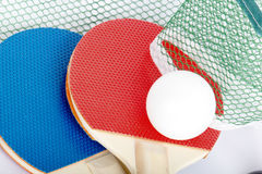 Table tennis rackets with ball Stock Image