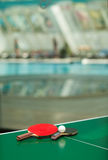 Table tennis rackets and ball and swimmig pool Stock Photography