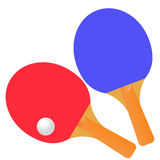 Table tennis rackets and ball on a white background. Royalty Free Stock Images