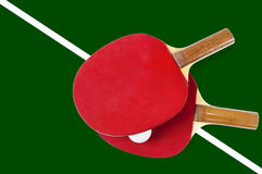 Table tennis rackets with white ball Stock Image