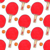 Table tennis racquets and balls.Seamless Stock Image