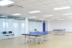 Table tennis room. Table tennis training room with standard table tennis tables Royalty Free Stock Photography
