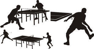 Table tennis - silhouettes Royalty Free Stock Photos