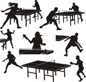 Table tennis silhouettes - players in action Royalty Free Stock Images