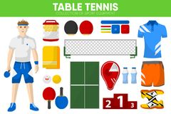Table tennis sport equipment game player garment accessory vector icons set Royalty Free Stock Images