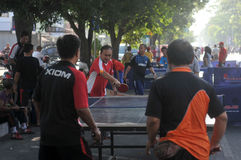 Table tennis in the streets Stock Image
