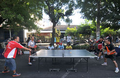 Table tennis in the streets Royalty Free Stock Photos