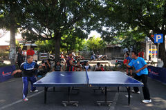 Table tennis in the streets Royalty Free Stock Image