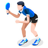 Table Tennis Summer Games Icon Set.3D Isometric Ping Pong Athlete. Stock Photo