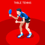 Table Tennis Summer Games Icon Set.3D Isometric Ping Pong Athlete.Sporting Championship International Competition Stock Photo
