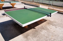 Table tennis tables. Of Croatia.The green table tennis tables royalty free stock photos