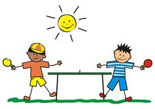 Table tennis. Two boys playing outside table tennis. Vector icon. In background is sun vector illustration