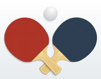Table tennis. Two table tennis rackets and a ball vector illustration isolated Stock Image
