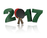Table Tennis 2017 with a White Background Stock Photos