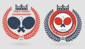 Table tennis wreath emblems Stock Photos