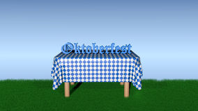 Table with the text `Oktoberfest`. Table with blue and white checkered blanket on which the text `Oktoberfest` stands in German, 3d illustration stock illustration