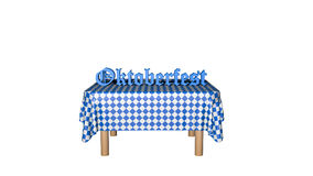 Table with text. `Oktoberfest` in German, isolated on white. 3d rendering royalty free illustration