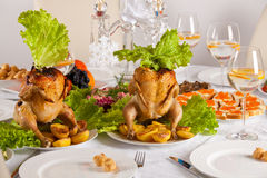 Table with Thanksgiving dinner Royalty Free Stock Photo