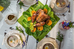 Table for Thanksgiving with turkey and soup Stock Images