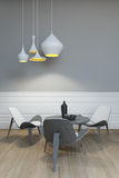 Table For Three. Under The Lamp Royalty Free Stock Photos