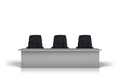 Table with three black chairs Royalty Free Stock Image