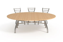 Table and three chairs, isolated on white. With clipping path, 3d illustration Stock Photo