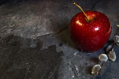 On the table are three red apples stock image