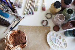 The table with tools for creativity. Art background. No people Stock Photography