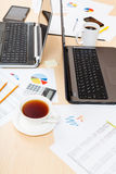 Table with tools in modern office Royalty Free Stock Photo