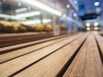 Table top with Bakery shelf in Supermarket Royalty Free Stock Images