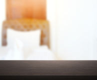 Table Top And Blur Background In Bedroom. Table Top And Blur Background In The Bedroom Royalty Free Stock Photo
