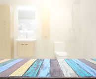 Table Top And Blur Bathroom of Background Stock Photography