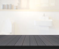 Table Top And Blur Bathroom Of Background. Table Top And Blur Bathroom Of The Background royalty free stock photo