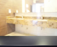 Table Top And Blur Bathroom Of Background. Table Top And Blur Bathroom Of The Background Royalty Free Stock Images