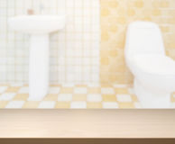 Table Top And Blur Bathroom Of Background. Table Top And Blur Bathroom Of The Background Stock Photography
