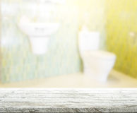 Table Top And Blur Bathroom Of  Background. Table Top And Blur Bathroom Of The Background Royalty Free Stock Image