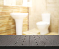 Table Top And Blur Bathroom Of Background. Table Top And Blur Bathroom Of The Background royalty free stock photography