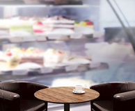 Table Top And Blur Interior Background. Table Top And Blur Interior of Background Stock Photography