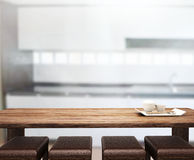 Table Top And Blur Interior of Background. Table Top And Blur Interior of the Background Stock Photography